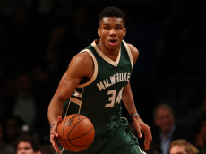 NEW YORK, NY - DECEMBER 01:  Giannis Antetokounmpo #34 of the Milwaukee Bucks in action against the Brooklyn Nets during their game at Barclays Center on December 1, 2016 in New York City.   NOTE TO USER: User expressly acknowledges and agrees that, by downloading and/or using this Photograph, user is consenting to the terms and conditions of the Getty Images License Agreement.  (Photo by Al Bello/Getty Images)
