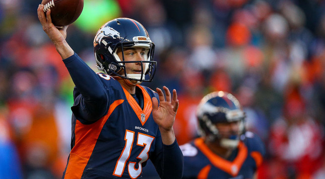 DENVER, CO - DECEMBER 18:  Quarterback Trevor Siemian #13 of the Denver Broncos passes against the New England Patriots in the second quarter at Sports Authority Field at Mile High on December 18, 2016 in Denver, Colorado. (Photo by Justin Edmonds/Getty Images)
