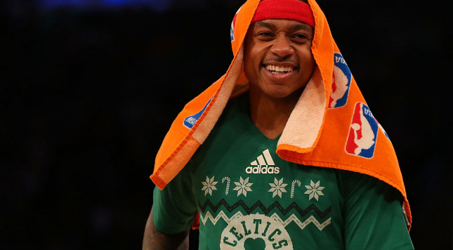 NEW YORK, NY - DECEMBER 25:  Isaiah Thomas #4 of the Boston Celtics looks on during a time-out against the New York Knicks at Madison Square Garden on December 25, 2016 in New York City. NOTE TO USER: User expressly acknowledges and agrees that, by downloading and or using this photograph, User is consenting to the terms and conditions of the Getty Images License Agreement.  (Photo by Mike Stobe/Getty Images)