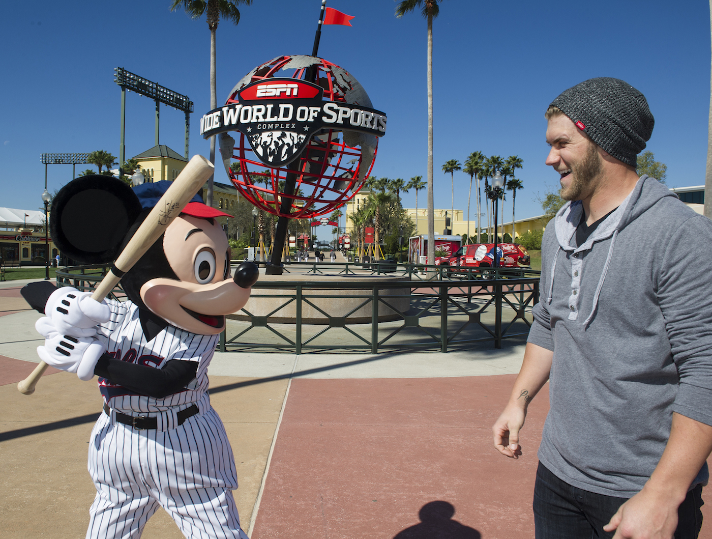 (MARCH 4, 2013):  Reigning National League Rookie of the Year Bryce Harper of the Washington Nationals poses March 4, 2013 with Mickey Mouse at ESPN Wide World of Sports Complex at Walt Disney World in Lake Buena Vista, Fla.  Harper also was named to the 2012 NL All-Star Team.  The Washington Nationals are hosting their MLB Spring Training in nearby Viera, Fla. (Gene Duncan, photographer)