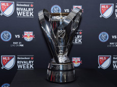 NEW YORK, NY - MAY 19: A view of the MLS cup on display at the MLS Heineken Rivalry Week Human Foosball Soccer event on May 19, 2016 in New York City.  (Photo by Dave Kotinsky/Getty Images for Heineken)