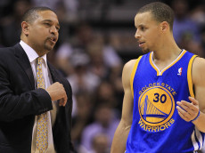 SAN ANTONIO, TX - MAY 08:  Head coach Mark Jackson talks with Stephen Curry #30 of the Golden State Warriors during Game Two of the Western Conference Semifinals of the 2013 NBA Playoffs at AT&T Center on May 8, 2013 in San Antonio, Texas.  NOTE TO USER: User expressly acknowledges and agrees that, by downloading and or using this photograph, User is consenting to the terms and conditions of the Getty Images License Agreement.  (Photo by Ronald Martinez/Getty Images)