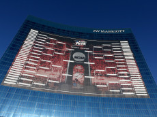 INDIANAPOLIS, IN - APRIL 01:  A 165-foot tall NCAA Men's Basketball Tournament bracket is seen on the JW Marriott Indianapolis leading up to the 2015 Final Four at Lucas Oil Stadium on April 1, 2015 in Indianapolis, Indiana. The bracket is 44,000 square-feet.  (Photo by Streeter Lecka/Getty Images)