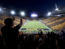 IOWA CITY, IA - SEPTEMBER 10:  Fans cheer as the Iowa Hawkeyes face the Iowa State Cyclones on September 10, 2016 at Kinnick Stadium in Iowa City, Iowa.  (Photo by Matthew Holst/Getty Images)