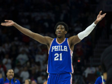 PHILADELPHIA, PA - OCTOBER 26: Joel Embiid #21 of the Philadelphia 76ers reacts against the Oklahoma City Thunder at Wells Fargo Center on October 26, 2016 in Philadelphia, Pennsylvania. NOTE TO USER: User expressly acknowledges and agrees that, by downloading and or using this photograph, User is consenting to the terms and conditions of the Getty Images License Agreement. The Thunder defeated the 76ers 103-97. (Photo by Mitchell Leff/Getty Images)