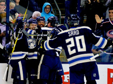 COLUMBUS, OH - JANUARY 3:  William Karlsson #25 of the Columbus Blue Jackets is congratulated by his teammates after scoring a power play goal during the second period of the game against the Edmonton Oilers on January 3, 2017 at Nationwide Arena in Columbus, Ohio. (Photo by Kirk Irwin/Getty Images)
