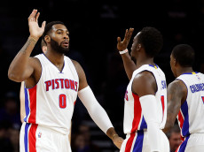 AUBURN HILLS, MI - JANUARY 05: Andre Drummond #0 of the Detroit Pistons celebrates a first half basket with Reggie Jackson #1 while playing the Charlotte Hornets at the Palace of Auburn Hills on January 5, 2017 in Auburn Hills, Michigan. NOTE TO USER: User expressly acknowledges and agrees that, by downloading and or using this photograph, User is consenting to the terms and conditions of the Getty Images License Agreement.  (Photo by Gregory Shamus/Getty Images)