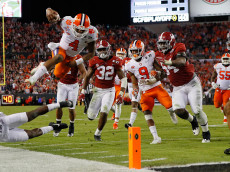 in the 2017 College Football Playoff National Championship Game at Raymond James Stadium on January 9, 2017 in Tampa, Florida.