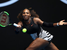 MELBOURNE, AUSTRALIA - JANUARY 17:  Serena Williams of the United States plays a forehand in her first round match against Belinda Bencic of Switzerland on day two of the 2017 Australian Open at Melbourne Park on January 17, 2017 in Melbourne, Australia.  (Photo by Mark Kolbe/Getty Images)