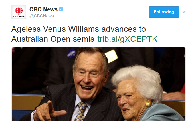 CBC tweet Venus Williams Bushes cropped