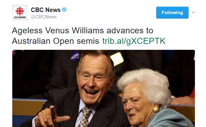 CBC tweet Venus Williams Bushes cropped