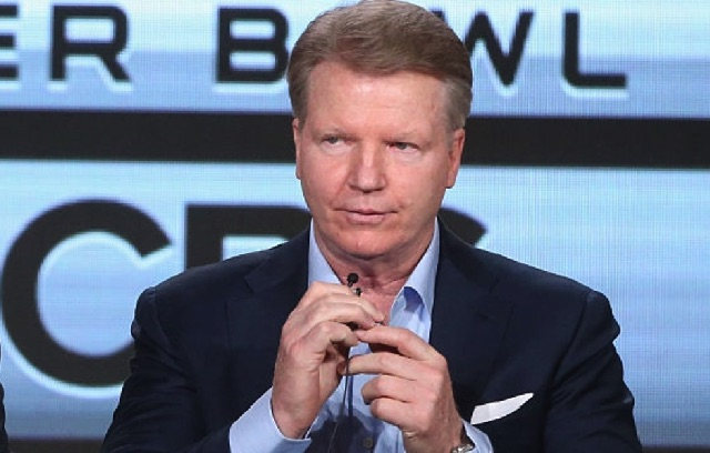 PASADENA, CA - JANUARY 12: (L-R) Host of THE SUPER BOWL TODAY James Brown and Analyst Super Bowl 50 Phil Simms speak onstage during the 'CBS Sports' panel discussion at the CBS/ShowtimeTelevision Group portion of the 2015 Winter TCA Tour at the Langham Huntington Hotel on January 12, 2016 in Pasadena, California. (Photo by Frederick M. Brown/Getty Images)