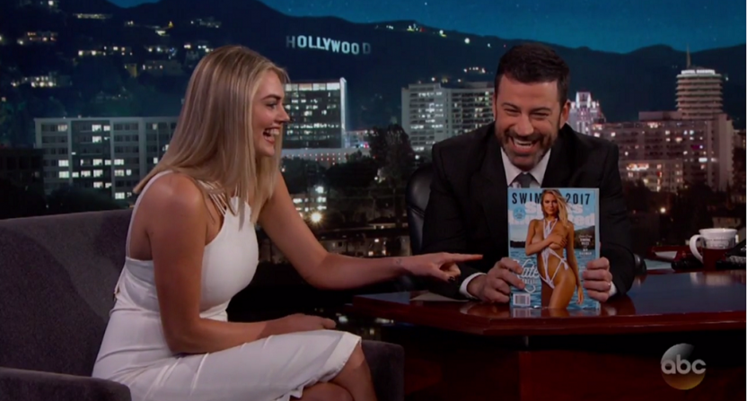 Kate Upton with the 2017 SI Swimsuit Issue on Jimmy Kimmel Live.