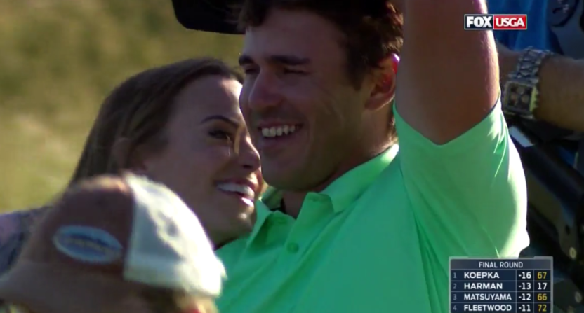 Brooks Koepka, Girlfriend Jena Sims Celebrate 2017 US Open Win