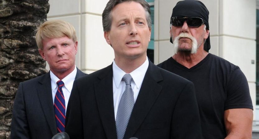 Charles Harder (C) represented Hulk Hogan against Gawker. He now represents RJ Bell in a lawsuit against Deadspin.