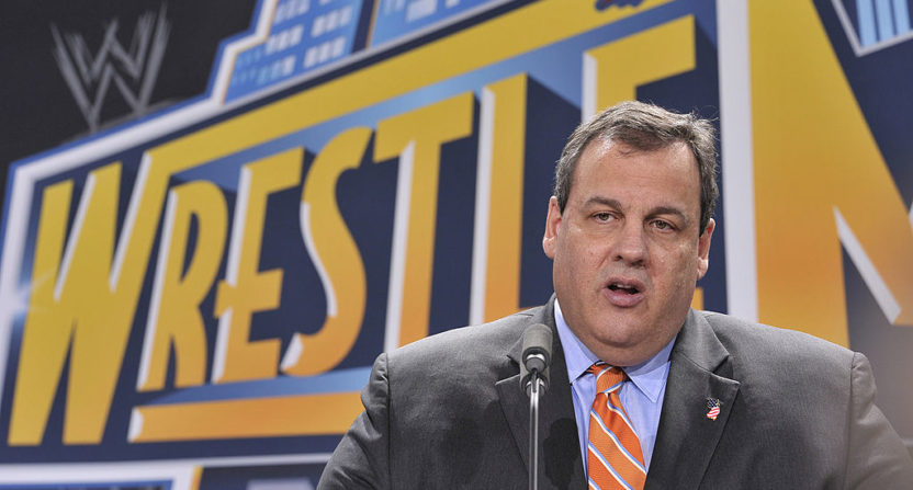 Chris Christie at a 2012 press conference announcing Wrestlemania coming to MetLife Stadium.