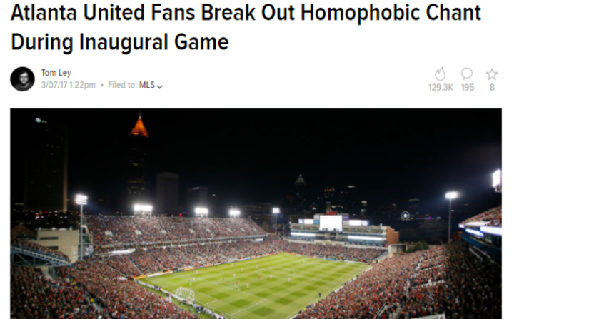 What Deadspin's Atlanta United story looks like now.