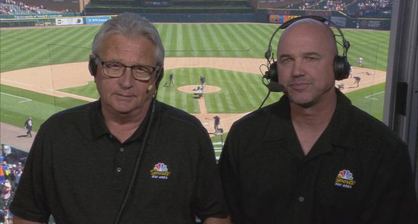 Having Brian Johnson (R) join Duane Kuiper for three games in Detroit didn't go over all that well for NBC Sports Bay Area.
