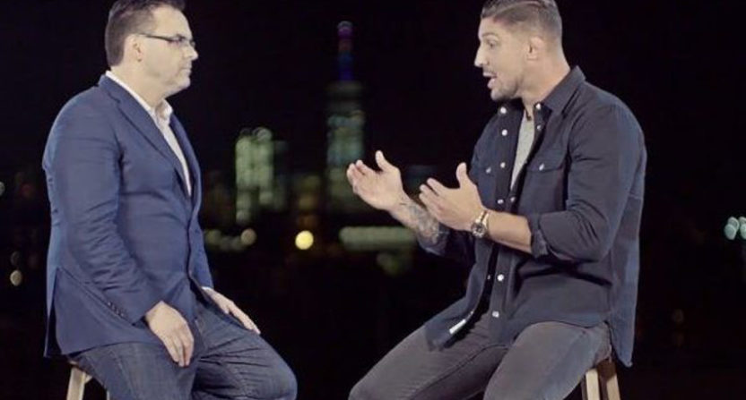 Mauro Renallo and Brendan Schaub (R) on Showtime's Mayweather-McGregor press tour coverage.