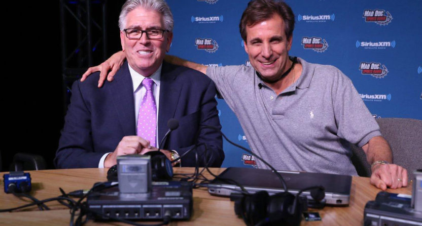 "Mike Francesa (L) and Chris ""Mad Dog"" Russo at a Sirius XM town hall Thursday."