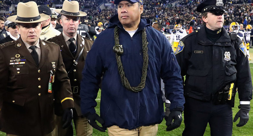 Navy head coach Ken Niumatalolo at the Army-Navy game last December.