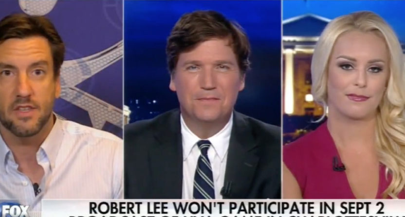 Clay Travis appeared on Fox News with Tucker Carlson and Britt McHenry.