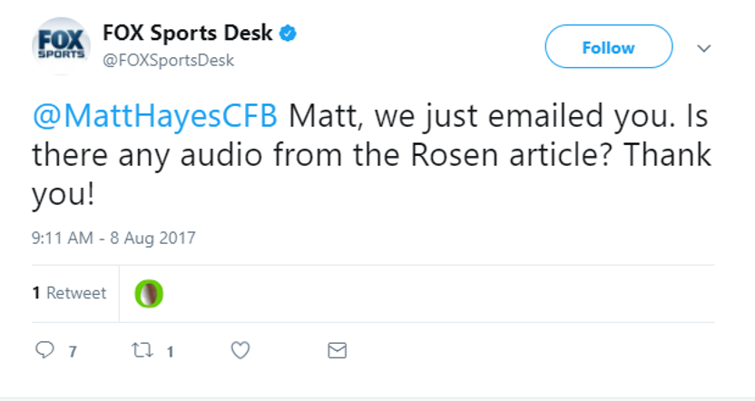 This Fox tweet at Matt Hayes didn't go well for them.