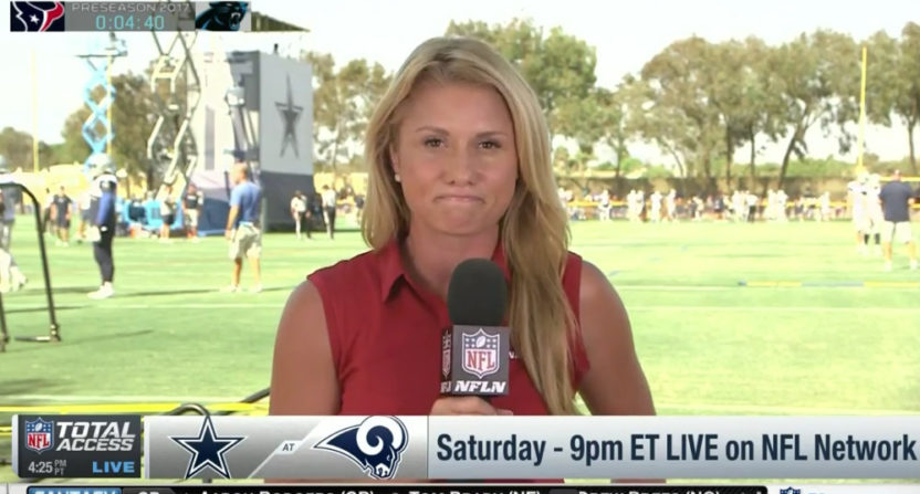 "Jane Slater said on NFL Network that Tyron Smith was ""dealing with a bulging dick."""