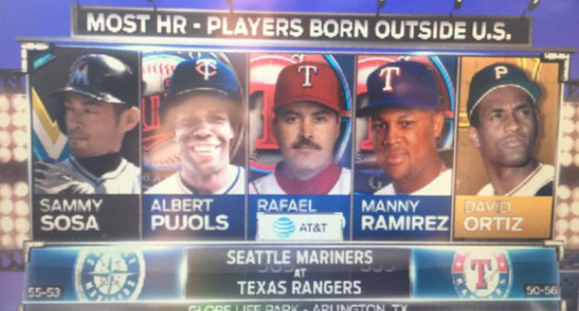 This graphic on a Rangers' broadcast got badly screwed up.