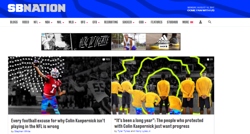 SB Nation's homepage on August 14.