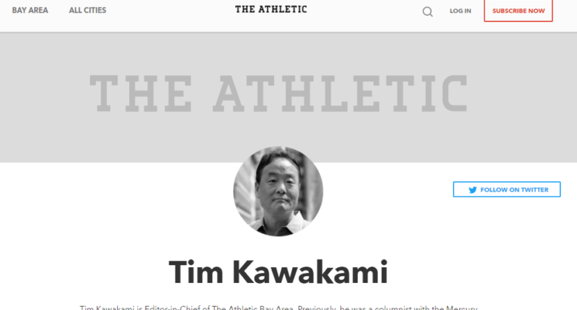 Tim Kawakami is the new EIC of The Athletic San Francisco.