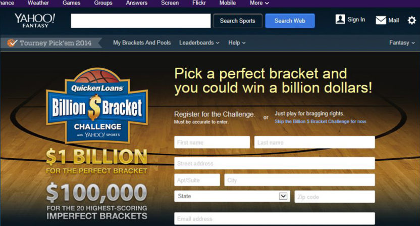 Yahoo's Billion-Dollar Bracket entry form from 2014.