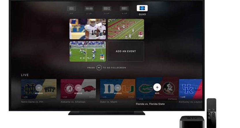 ESPN releases new 4-way split screen feature for Apple TV