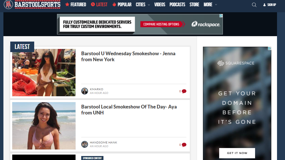 The Barstool Sports homepage Wednesday afternoon.