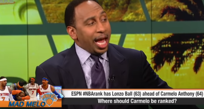 "Stephen A. Smith called ESPN's Carmelo Anthony ranking ""garbage."""