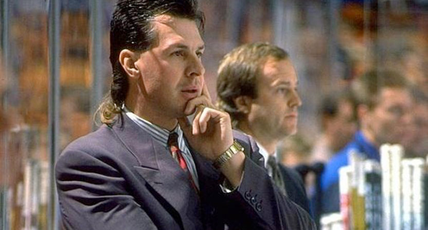Barry Melrose coaching the Los Angeles Kings.