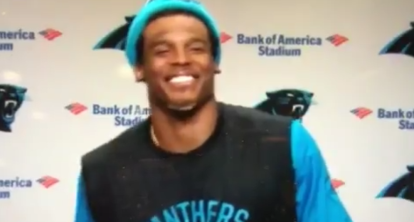 Cam Newton's response to Jourdan Rodrigue's question.