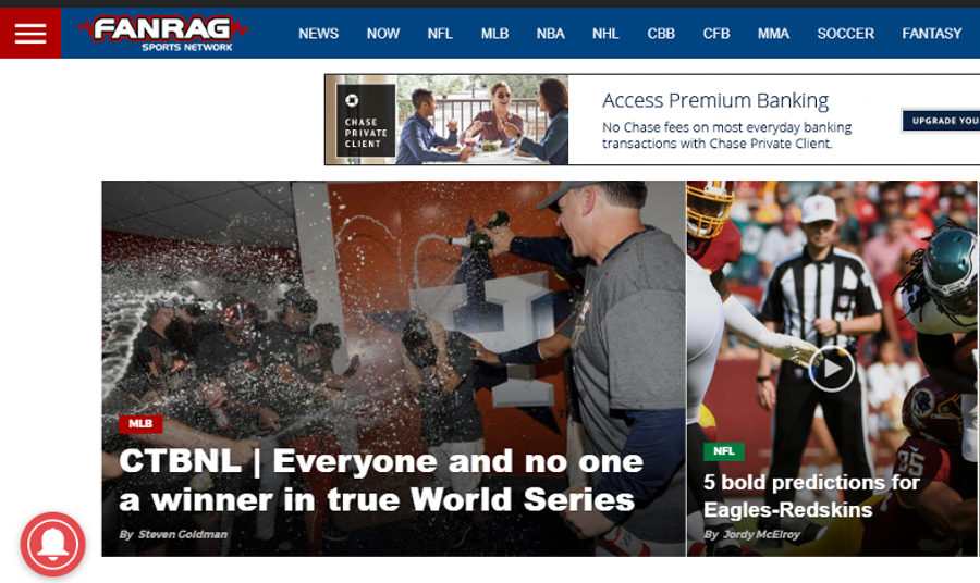 FanRag Sports homepage Oct 23 - Awful Announcing