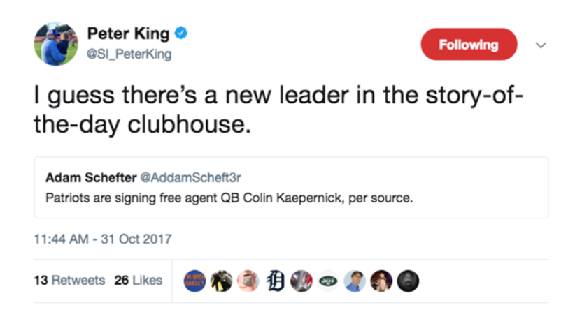 Peter King was fooled by a fake tweet.