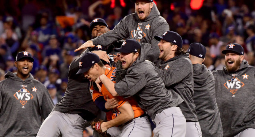 The Astros celebrating their World Series win.