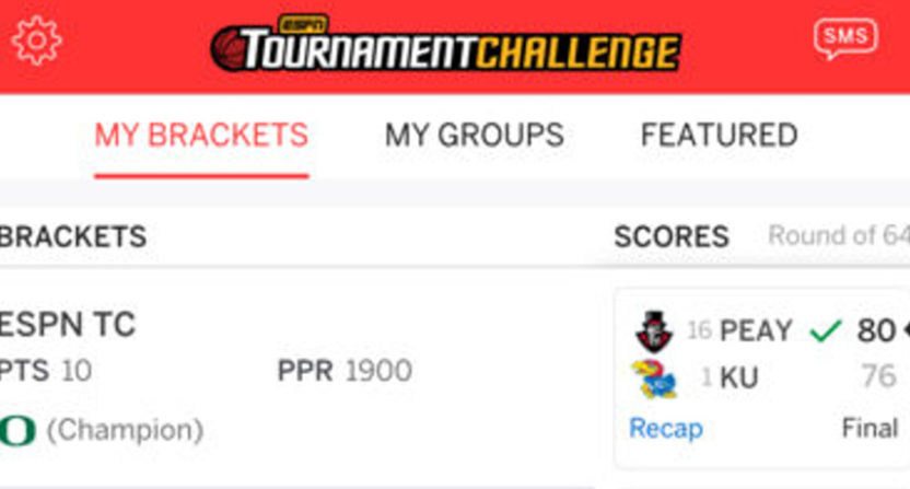 ESPN's single fantasy app now includes all their products, like NCAA Tournament Challenge.