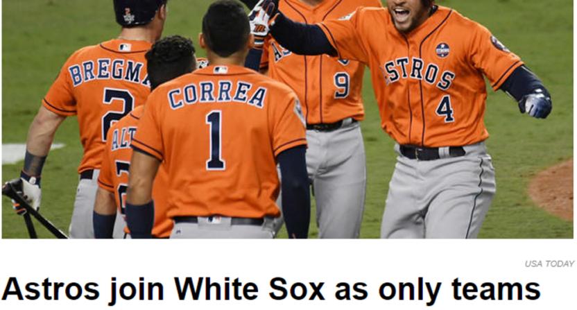 NBC Sports Chicago's Astros headline.