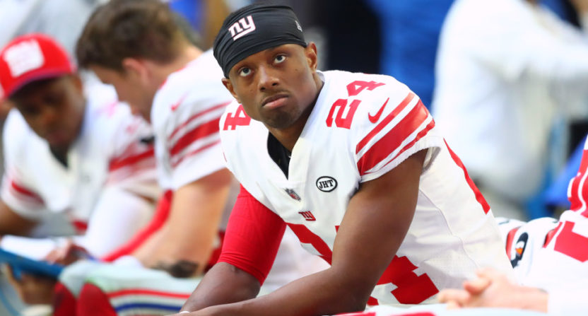 Eli Apple on the bench against the Arizona Cardinals.