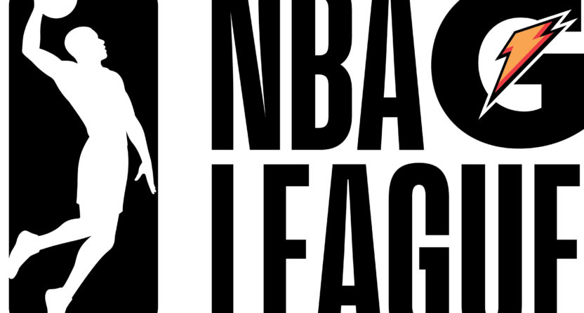 The G League logo.