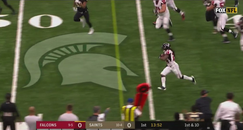 This Michigan State logo wound up on the field during Falcons-Saints.
