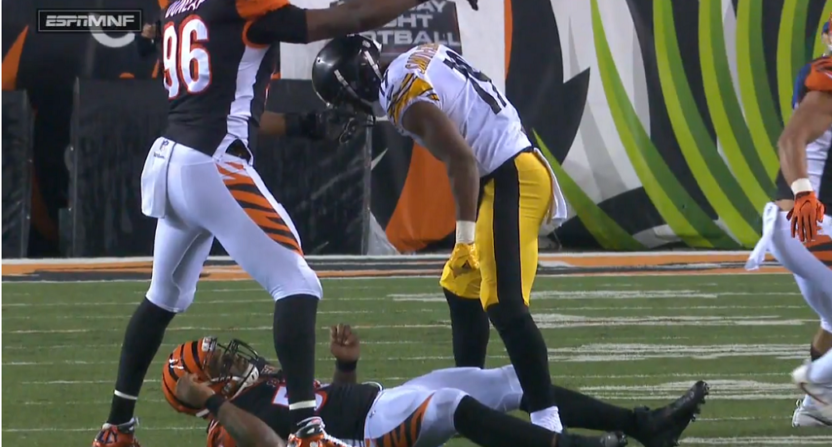 Vontaze Burfict carted off field after hit from JuJu Smith-Schuster