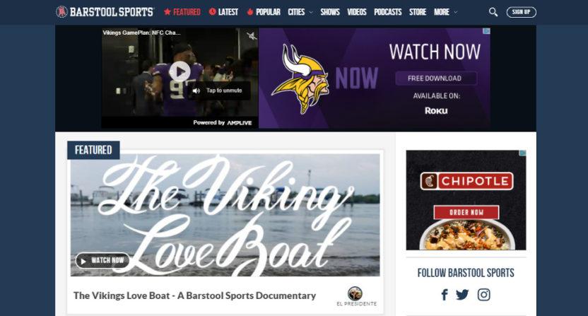 Barstool Sports' homepage on Jan. 23, 2018.