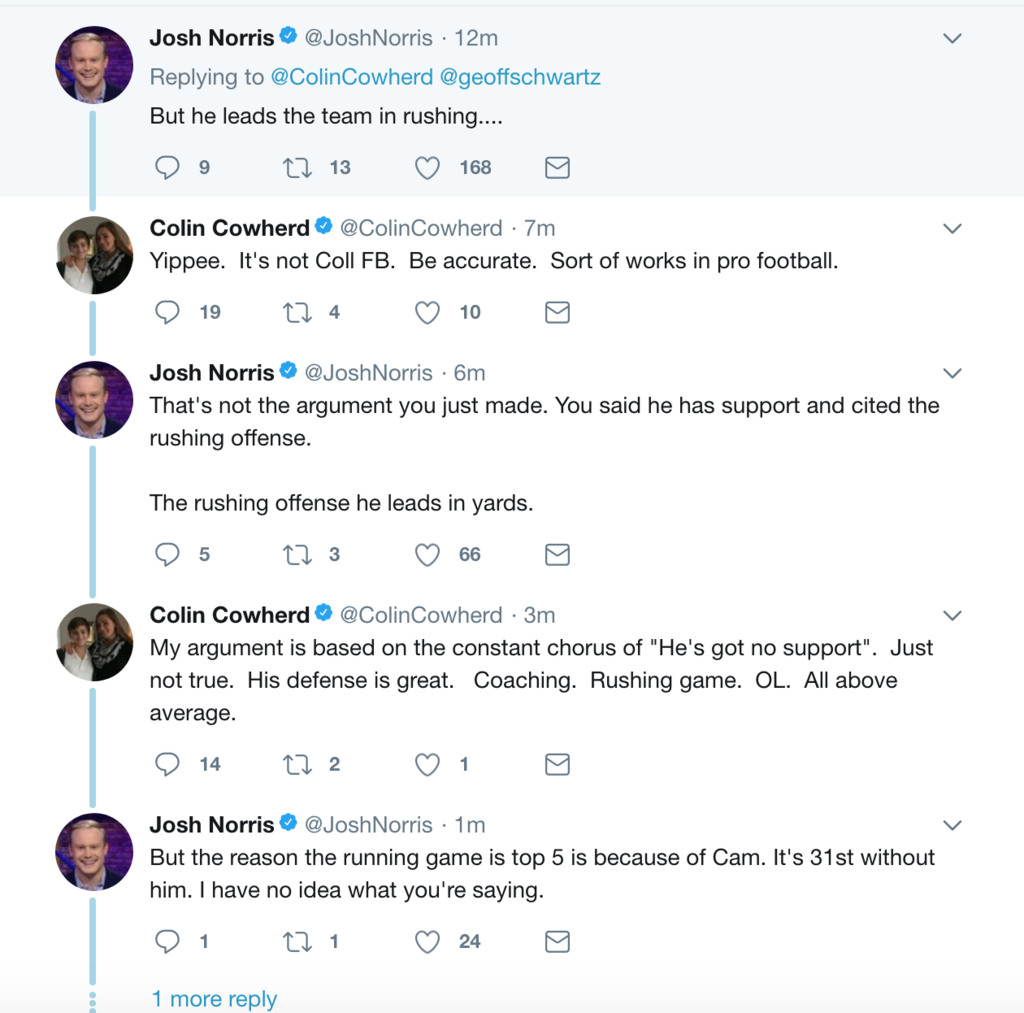 Colin Cowherd argues about Cam Newton.