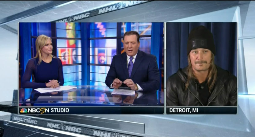 Kathryn Tappen and Jeremy Roenick interviewing Kid Rock.