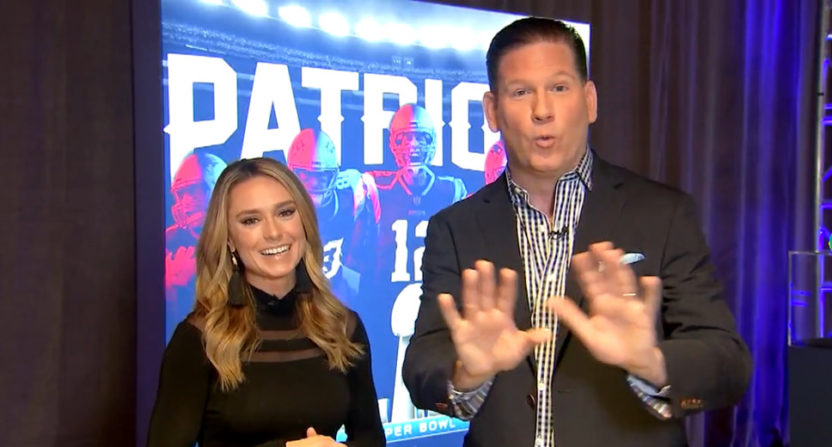 Molly McGrath (L, with Fox 25 News' Tom Leyden) will be hosting on the Patriots' Not Done Network.